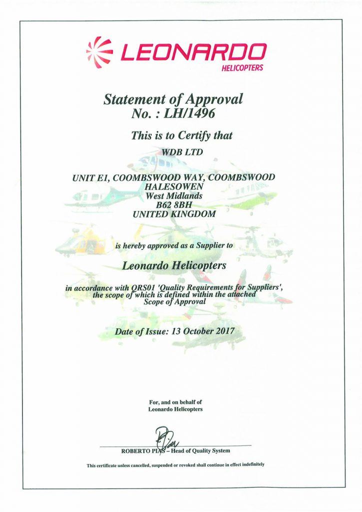 Leonardo Helicopters Approved Contractor