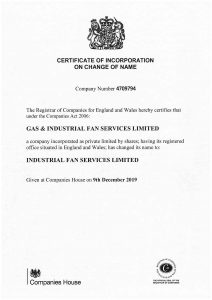 Industrial Fan Services Cert Rebrand